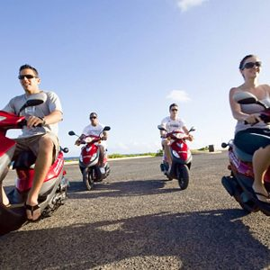 red Sym 50cc scooter group