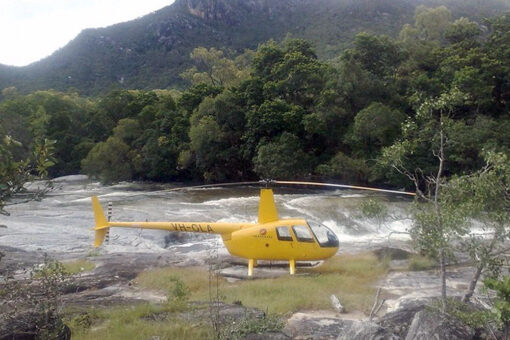 Helicopter in the rainforest